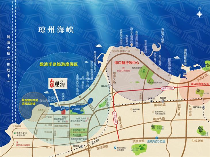 澄迈正光观海(近海湾)交通位置图